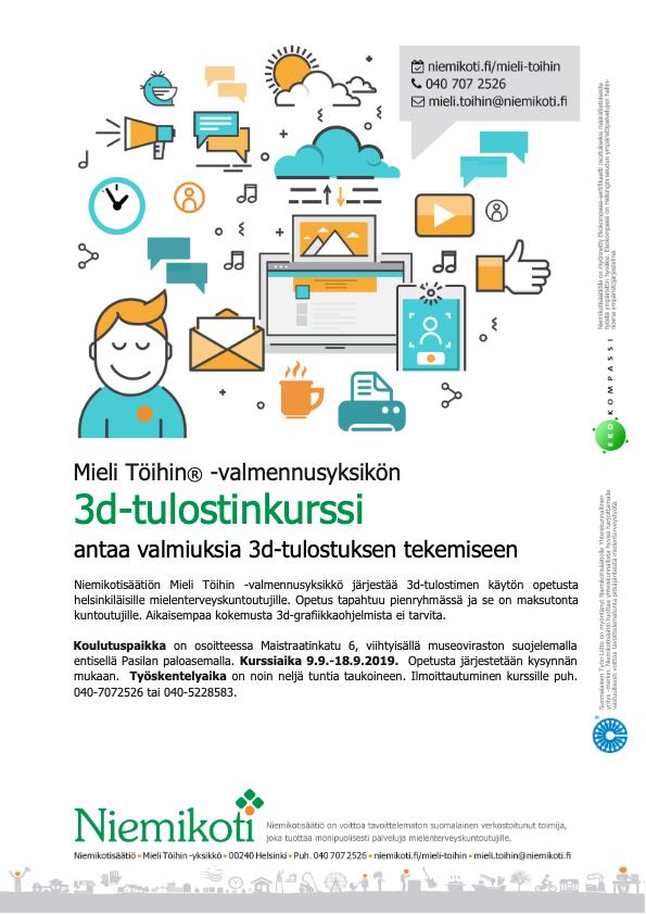Mieli Töihin: 3d-tulostinkurssi 9.9.–18.9.2019