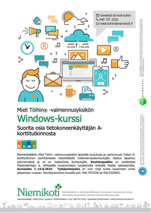 Mieli Töihin: Windows-kurssi 7.–16.8.2019