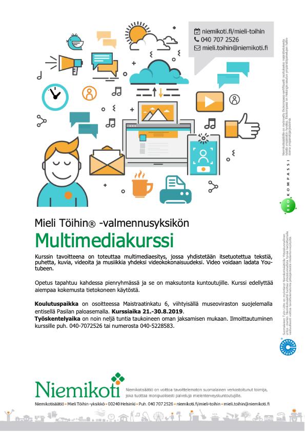 Mieli Töihin: Multimediakurssi 21.–30.8.2019