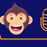 Piirros: Niilo-sovelluksen apina ja podcast-mikrofoni