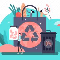 Ympäristösäästöä ja ruokahävikittömyyttä kuvaava piirros