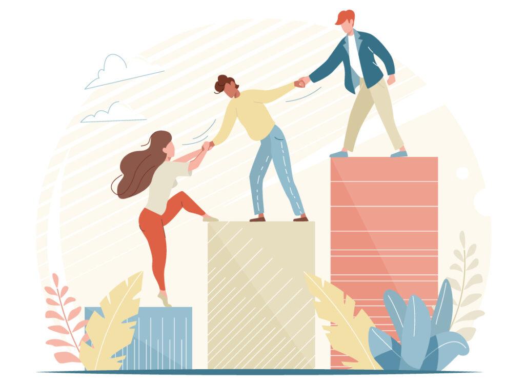 Yhteistyön nostattavaa voimaa kuvaava piirros